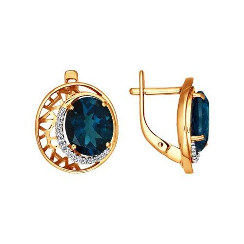 Золотые серьги с голубым топазом SOKOLOV