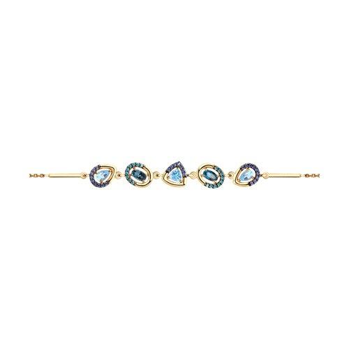 Браслет из золота с голубыми и синими топазами и фианитами (750333) - фото