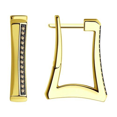 Серьги из желтого золота с бриллиантами 1021640 SOKOLOV фото