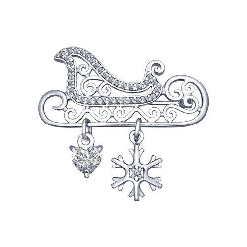 Брошь «Сани» из серебра  (94040133) - фото