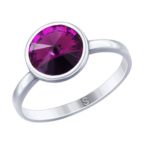 Кольцо из серебра с кристаллом Swarovski (94012600) - фото