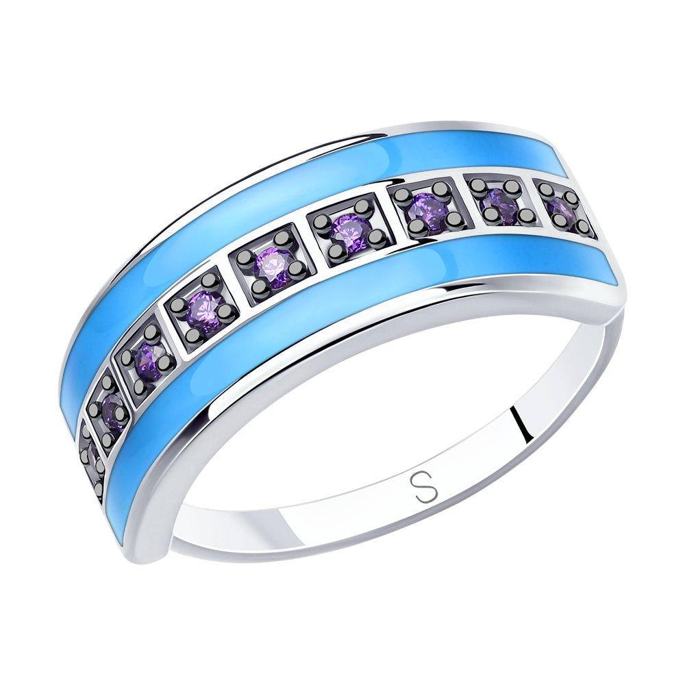 Кольцо SOKOLOV из серебра с эмалью и фианитами фото