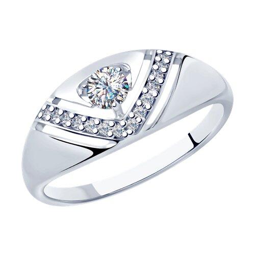 Кольцо из серебра с фианитами (94012879) - фото