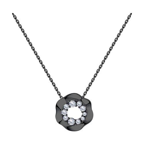 Колье из серебра с фианитами (94070304) - фото
