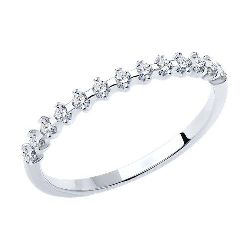 Тонкое кольцо из серебра с фианитами (94011488) - фото