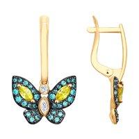 Серьги из золота в виде бабочки с фианитами