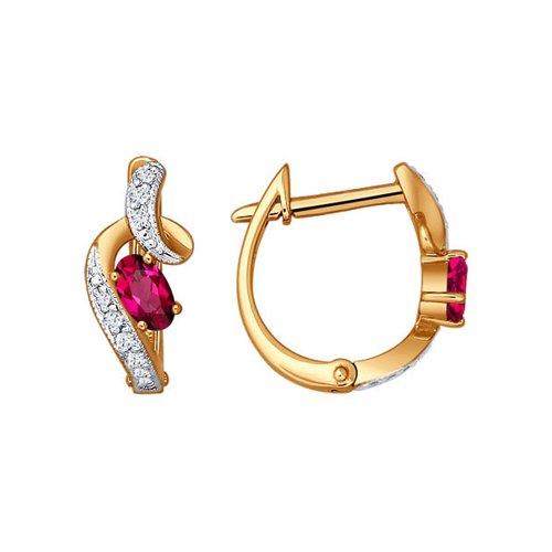 Серьги с рубином и бриллиантами SOKOLOV