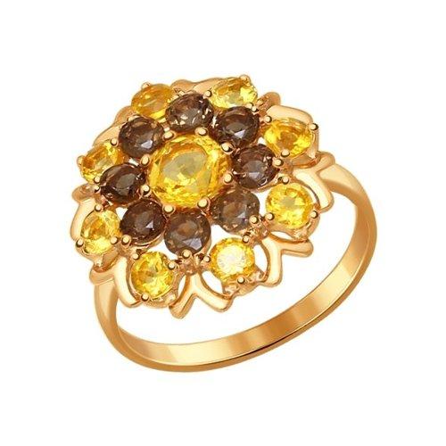 Кольцо из золочёного серебра с полудрагоценными вставками (92011222) - фото