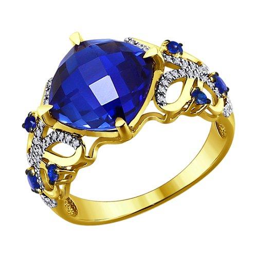 Кольцо из желтого золота с бриллиантами и синими корундами (синт.) (6012049-2) - фото