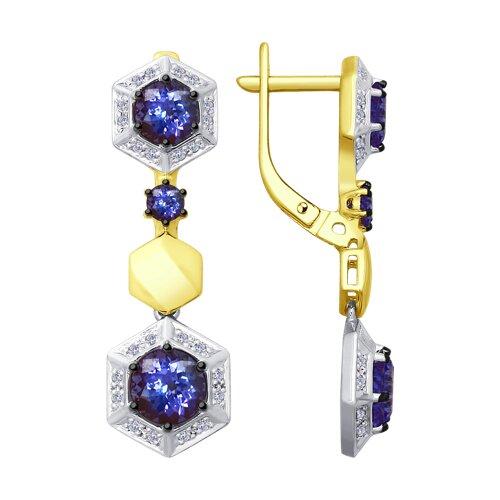 Серьги из комбинированного золота с бриллиантами и танзанитами (6024053-2) - фото