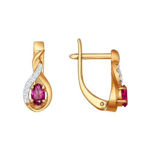 Серьги-цветы из золота c бриллиантами и овальным рубином