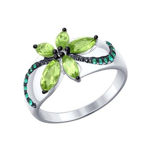 Кольцо из серебра с хризолитами и зелеными фианитами