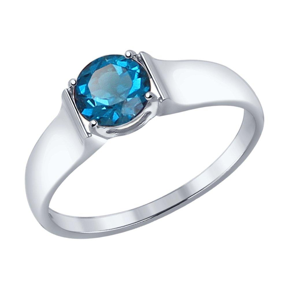 Фото - Кольцо SOKOLOV из белого золота с синим топазом maya gemstones кольцо из белого золота с топазом из коллекции secret garden