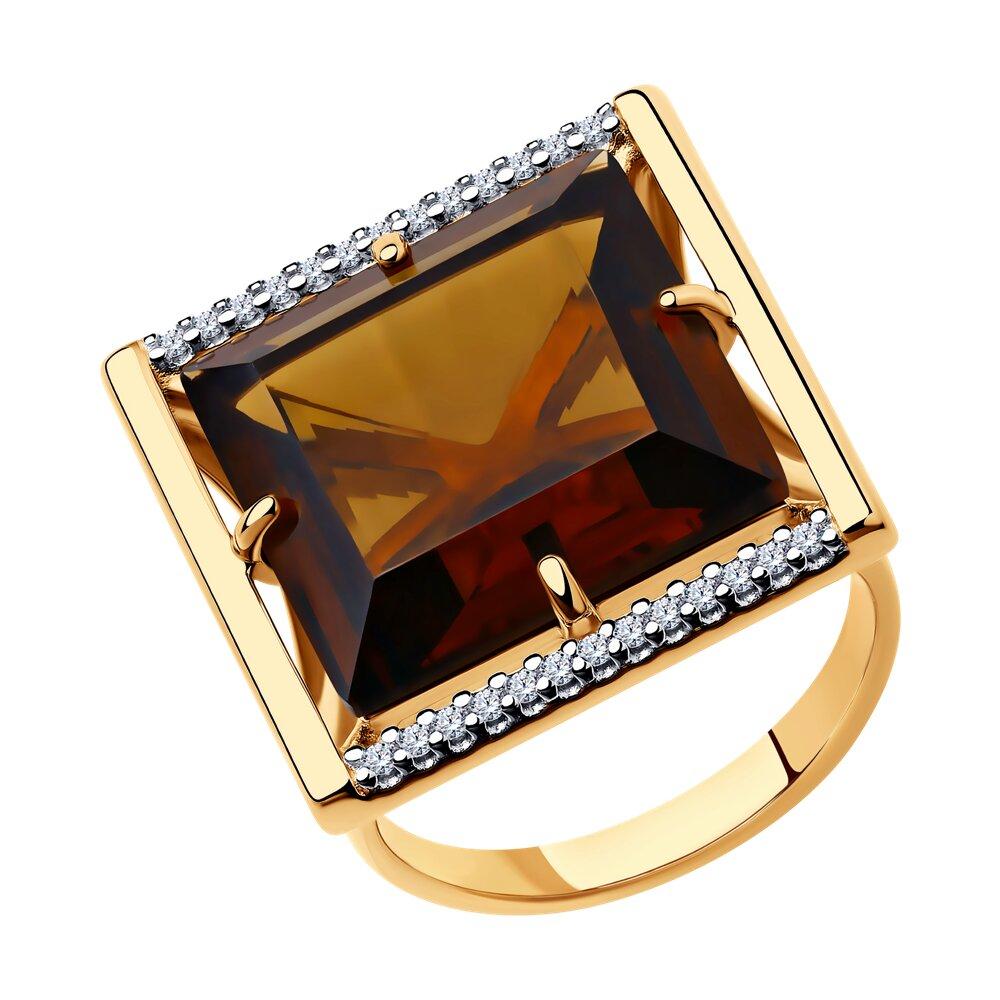 Кольцо SOKOLOV из золочёного серебра с золочением и родированием с минеральным стеклом и фианитами серебряное кольцо с фианитами и муранским стеклом лазурного цвета