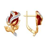 Золотые серьги «Алые розы» с бриллиантами