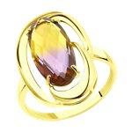 Кольцо из желтого золота с ситаллом аметрин