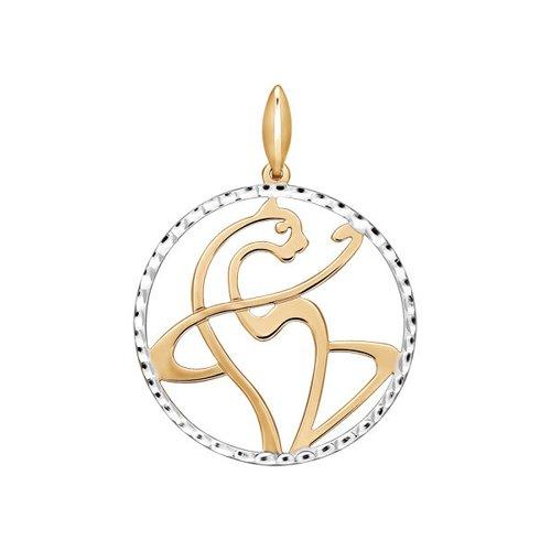 цена на Золотая подвеска «Кошка» с алмазной гранью SOKOLOV