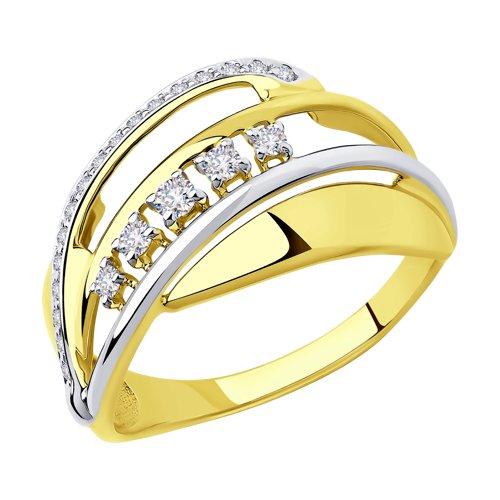 Кольцо из желтого золота с фианитами (018303-2) - фото