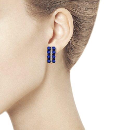 Серьги из золота с бриллиантами и синими корундами (6022136) - фото №2