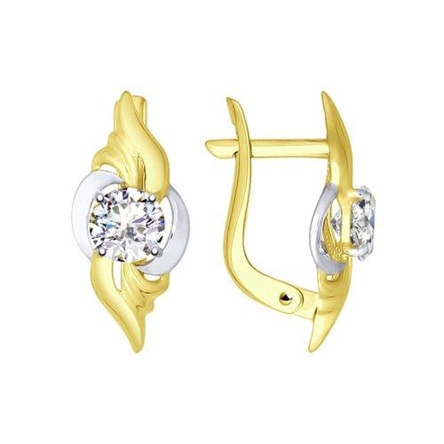 Серьги из желтого золота с фианитами (027370-2) - фото