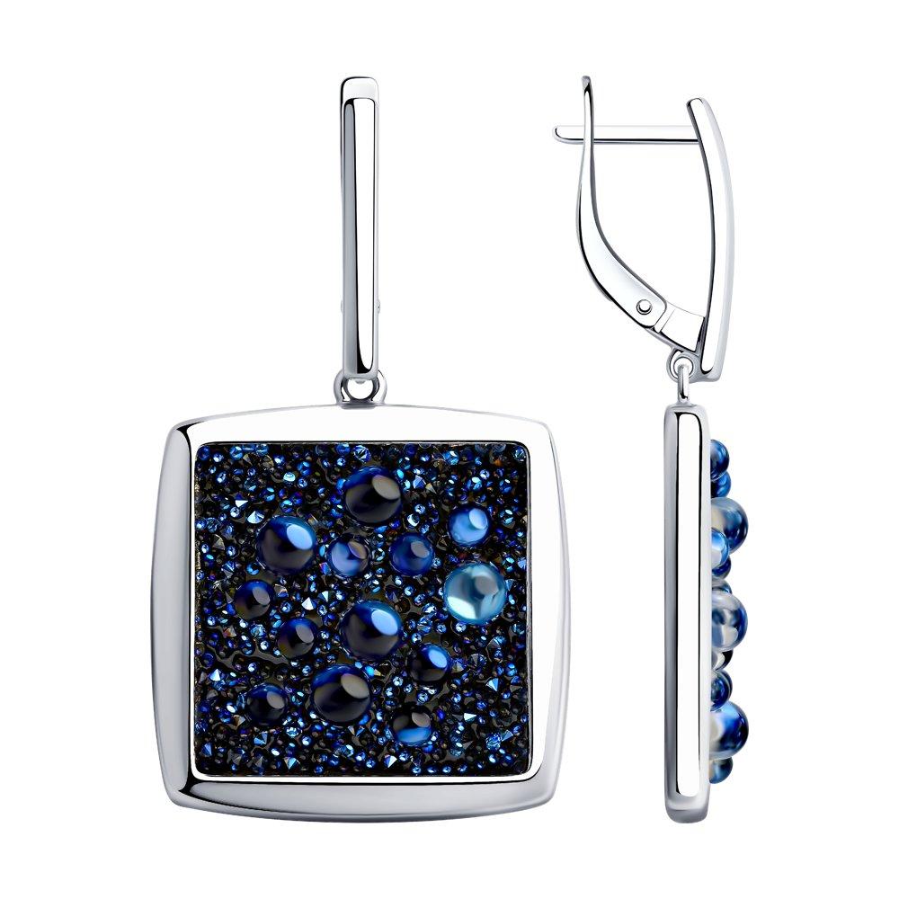 Серьги SOKOLOV из серебра с синими кристаллами Swarovski