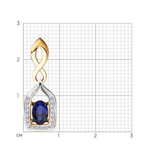 Подвеска из золота с бриллиантами и сапфиром 2030262 SOKOLOV фото 2