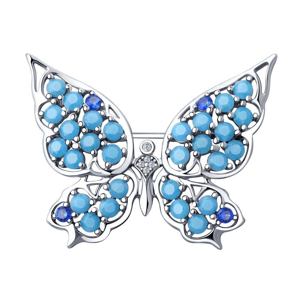 Брошь «Бабочка» SOKOLOV из серебра с и фианитами