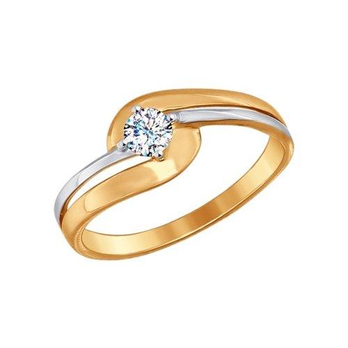Кольцо из золота с фианитом (017200) - фото
