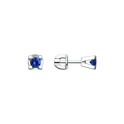 Серьги-пусеты из серебра с синими фианитами