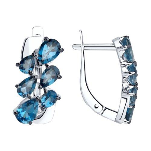 Серьги из серебра с синими топазами (92022065) - фото