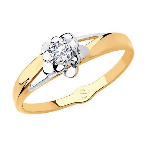 Кольцо из золота с фианитом (018209) - фото