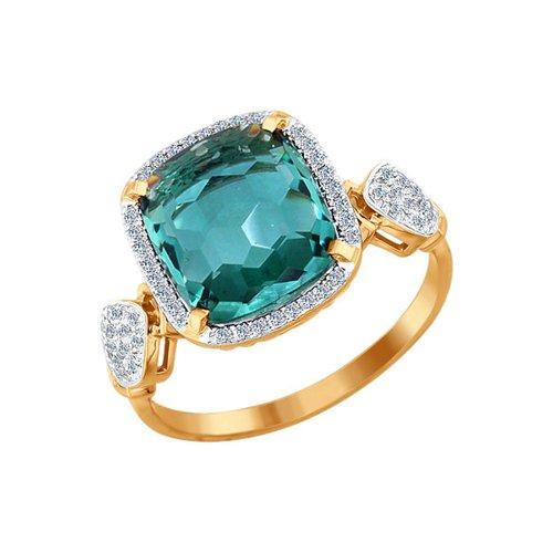 Кольцо из золота с бриллиантами и кварцем