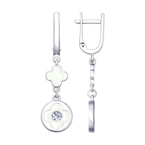 Серьги из серебра с эмалью и фианитами (94023235) - фото