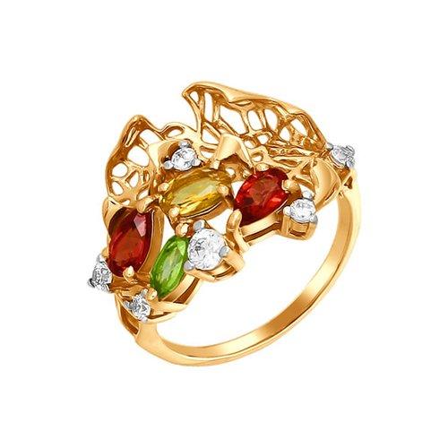 Ажурное кольцо с разноцветными камнями SOKOLOV