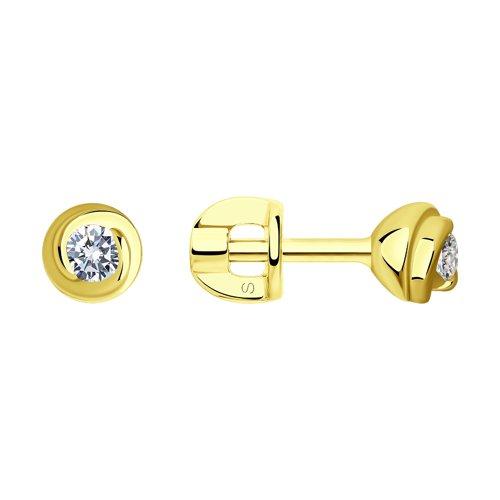 Серьги из желтого золота с бриллиантами (1020418-2) - фото