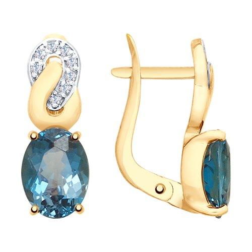 Серьги из золота с синими топазами и фианитами (725622) - фото