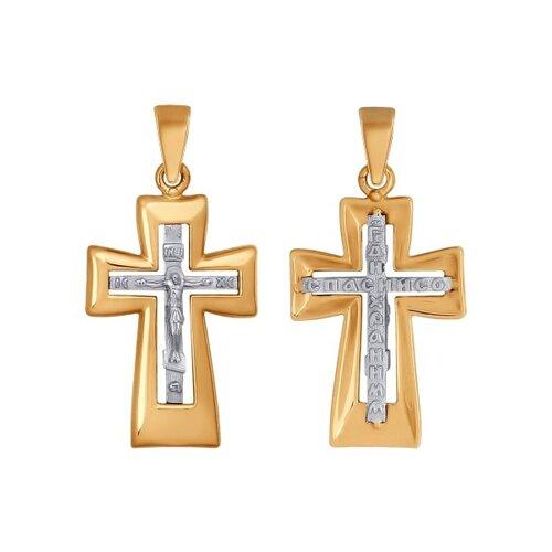 Крест из комбинированного золота (121339) - фото