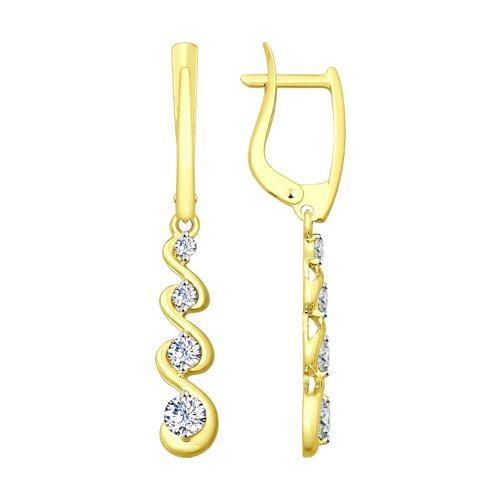 Серьги из желтого золота с фианитами (027955-2) - фото