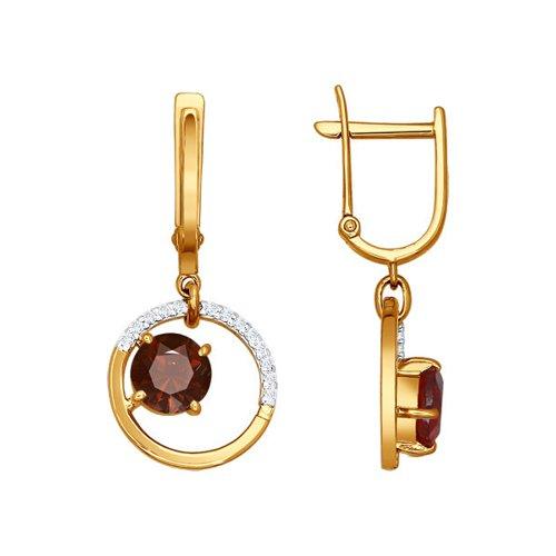 Серьги SOKOLOV из красного золота с гранатом бронницкий ювелир серьги из красного золота ф7157 2 4736