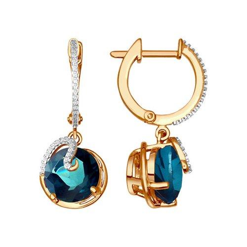 Золотые серьги с синим топазом SOKOLOV яркие золотые серьги с бабочкой sokolov