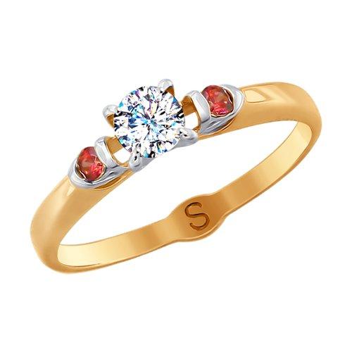 Кольцо из золота с бесцветным и красными фианитами (017872) - фото