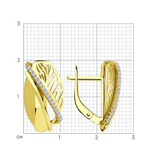 Серьги из желтого золота с фианитами 028886-2 SOKOLOV фото 2
