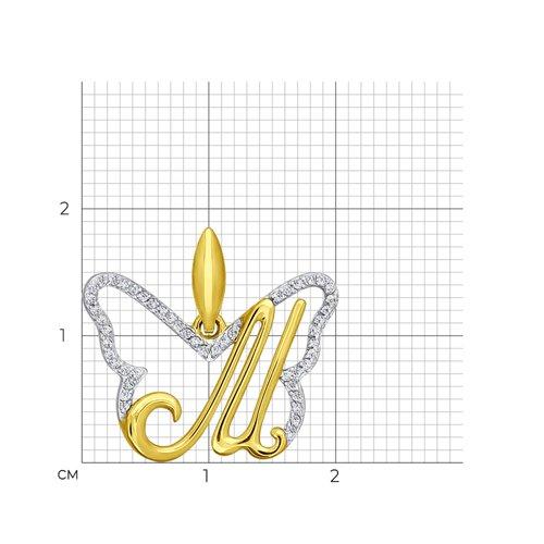 Подвеска из желтого золота с фианитами (034692-2) - фото №2