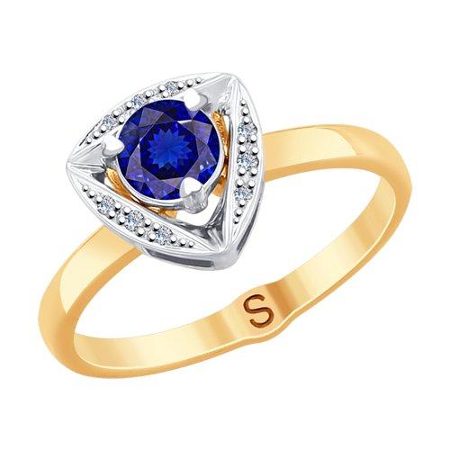 Кольцо из комбинированного золота с бриллиантами и синими корундами (6012136) - фото