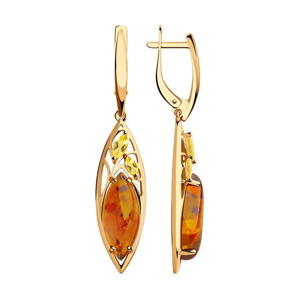 Серьги SOKOLOV из золота с цитринами и янтарём серьги sokolov из желтого золота с цитринами