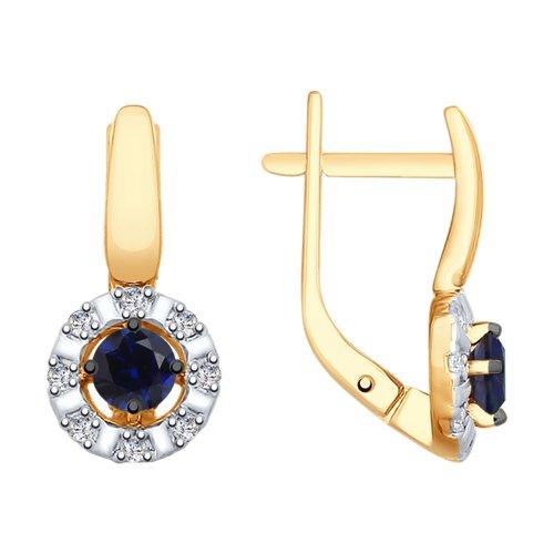 Серьги из золота с синими корунд (синт.) и фианитами (725784) - фото