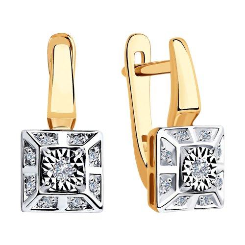 Серьги из комбинированного золота с бриллиантами (1021325) - фото №2