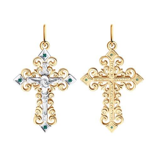 Крест из комбинированного золота с изумрудами