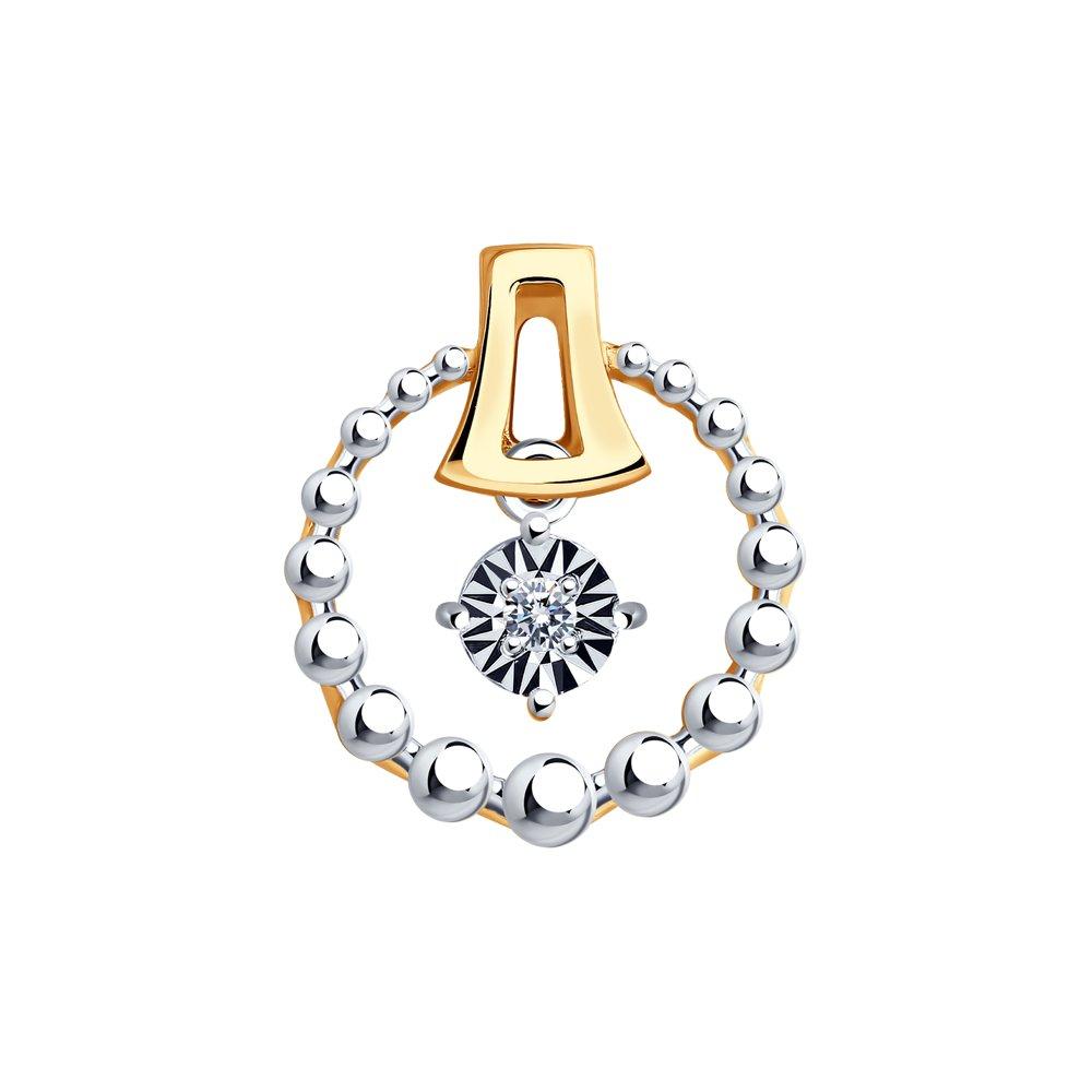 Купить со скидкой Подвеска SOKOLOV из комбинированного золота с бриллиантом