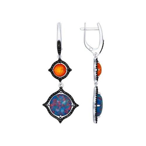 Серьги длинные из серебра с синими и оранжевыми опалами и чёрными фианитами